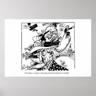 Dibujo animado político 1911 del gorra de Pascua d Póster