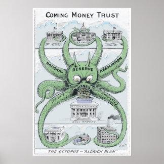 Dibujo animado político 1912 de Federal Reserve CO Póster