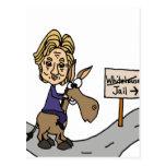 Dibujo animado político anti divertido de Hillary Tarjeta Postal