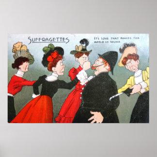 Dibujo animado político de los Suffragettes Póster