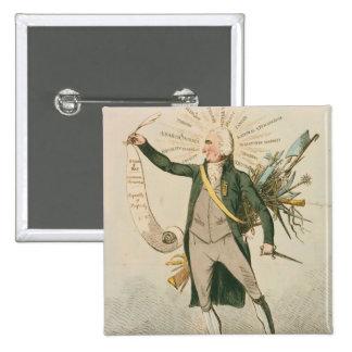 Dibujo animado político de Thomas Paine Pin Cuadrado