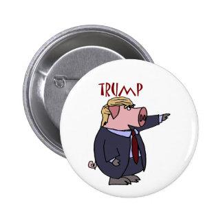 Dibujo animado político del cerdo divertido de pin redondo de 2 pulgadas