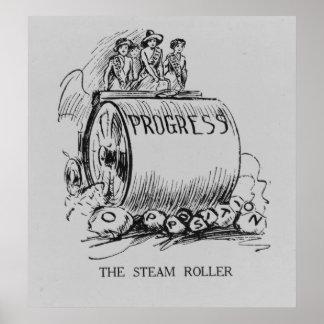 Dibujo animado político del Steamroller del sufrag Poster