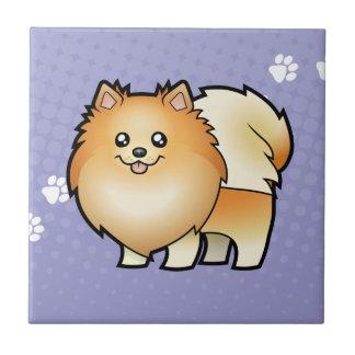 Dibujo animado Pomeranian Azulejo Cuadrado Pequeño