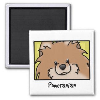 Dibujo animado Pomeranian rojo cuadrado Imán De Frigorífico