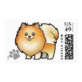 Dibujo animado Pomeranian Sello Postal