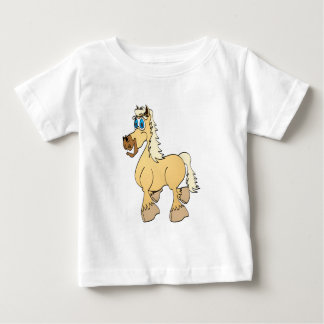 Dibujo animado poner crema del caballo playera de bebé