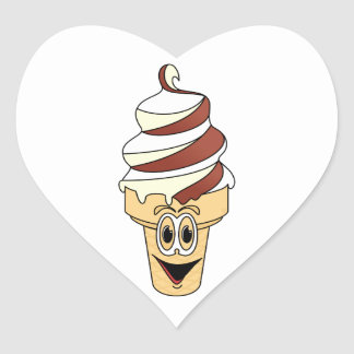 Dibujo animado poner crema del cono de Vanilla Ice Pegatina En Forma De Corazón