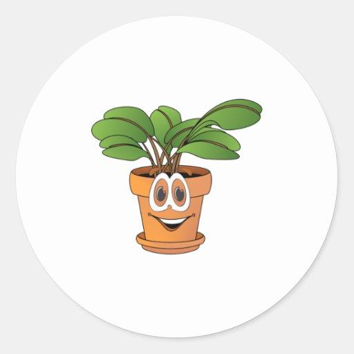 Dibujo animado Potted de la planta Pegatina Redonda