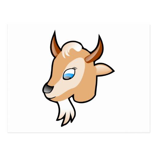 Dibujo animado principal de la cabra postales