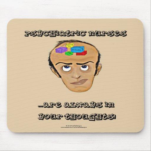 Dibujo animado psiquiátrico del Enfermera-Humor/bl Tapetes De Ratones