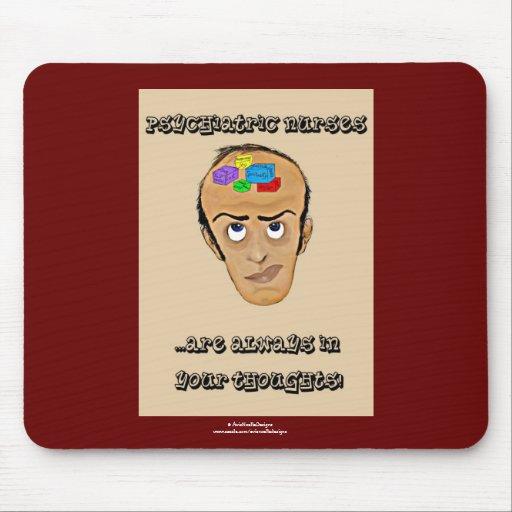 Dibujo animado psiquiátrico del Enfermera-Humor/bl Alfombrillas De Raton