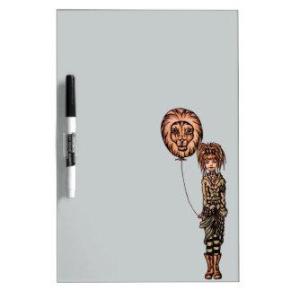 Dibujo animado punky lindo del chica que sostiene tableros blancos