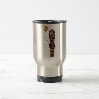 Dibujo animado punky lindo del chica que sostiene taza
