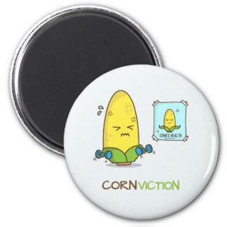 Dibujo animado punny del entrenamiento del maíz de iman de nevera