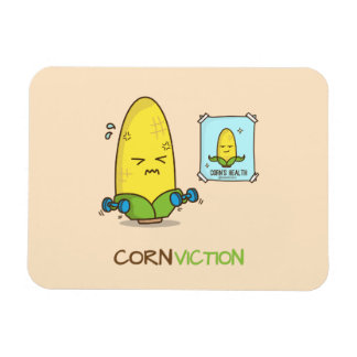 Dibujo animado punny del entrenamiento del maíz de imán flexible