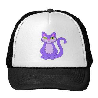 Dibujo animado púrpura de los ojos verdes del gato gorra