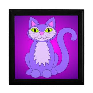 Dibujo animado púrpura de los ojos verdes del gato cajas de joyas