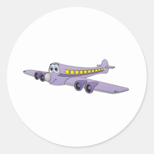 Dibujo animado púrpura del avión de pasajeros pegatina redonda