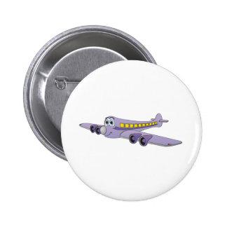 Dibujo animado púrpura del avión de pasajeros pin redondo 5 cm