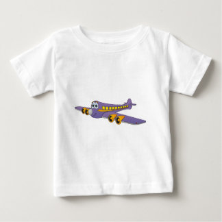 Dibujo animado púrpura del avión de pasajeros playera de bebé
