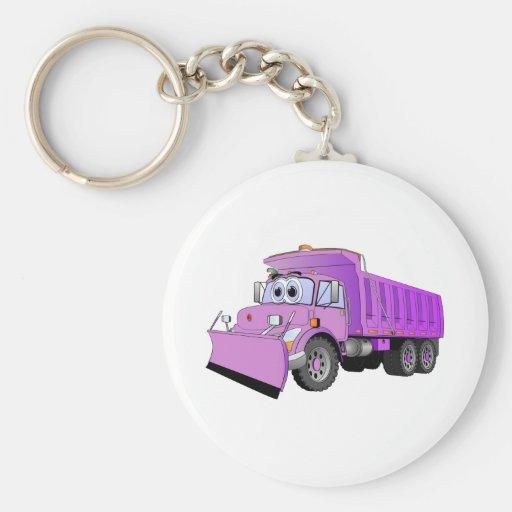 Dibujo animado púrpura del camión volquete llavero redondo tipo pin
