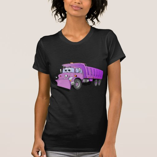 Dibujo animado púrpura del camión volquete poleras