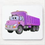 Dibujo animado púrpura del camión volquete alfombrilla de ratones