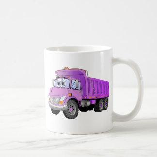 Dibujo animado púrpura del camión volquete taza