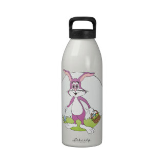 Dibujo animado púrpura del conejo del conejito de  botallas de agua