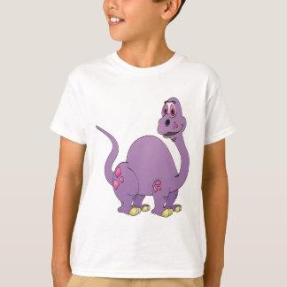 Dibujo animado púrpura del dinosaurio del cuello playera