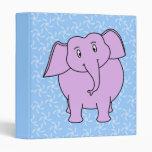Dibujo animado púrpura del elefante. Fondo floral