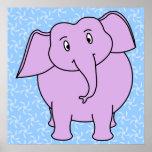 Dibujo animado púrpura del elefante. Fondo floral  Poster