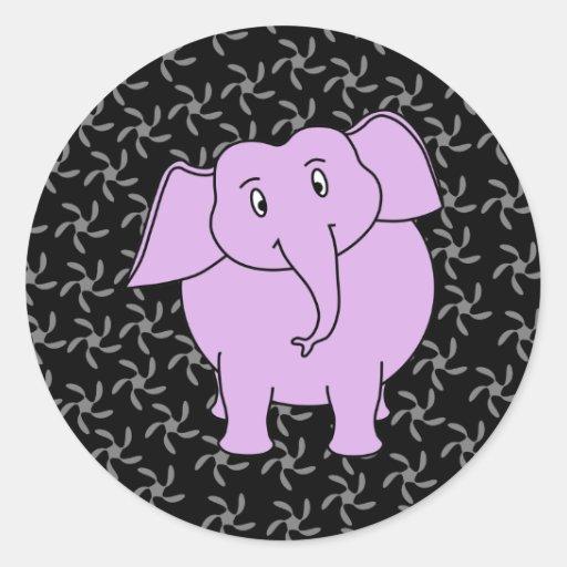 Dibujo animado púrpura del elefante. Fondo floral Pegatinas Redondas