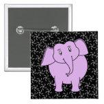 Dibujo animado púrpura del elefante. Fondo floral  Pin