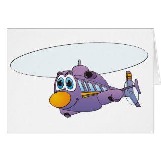 Dibujo animado púrpura del helicóptero tarjeta de felicitación