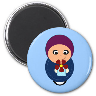 Dibujo animado púrpura del hijabi del hijab del pe imán redondo 5 cm