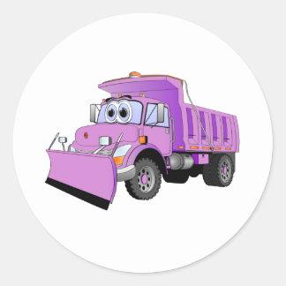 Dibujo animado púrpura del quitanieves etiquetas redondas