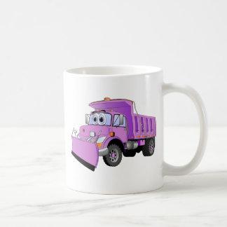 Dibujo animado púrpura del quitanieves taza