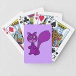 Dibujo animado púrpura divertido de la ardilla baraja cartas de poker