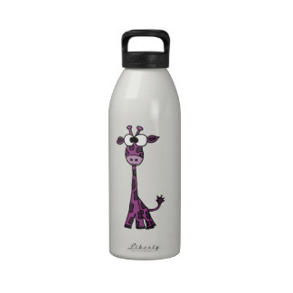 Dibujo animado púrpura divertido de la jirafa