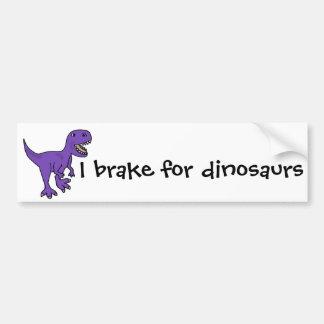 Dibujo animado púrpura divertido del dinosaurio de etiqueta de parachoque