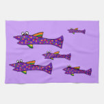Dibujo animado púrpura enrrollado de los pescados toallas de cocina