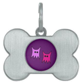 Dibujo animado púrpura lindo de los fantasmas del  placas de nombre de mascota