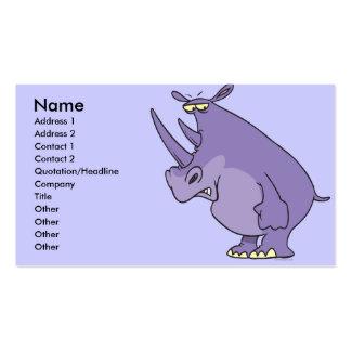 dibujo animado púrpura tonto lindo del rinoceronte tarjeta de visita