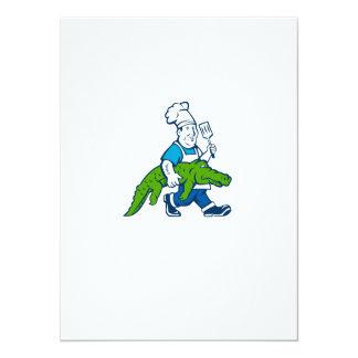 """Dibujo animado que camina de la espátula del invitación 5.5"""" x 7.5"""""""