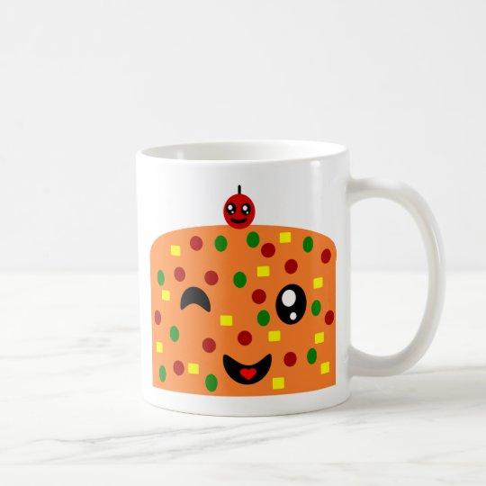 dibujo animado que guiña la torta de la fruta taza de café