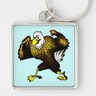 Dibujo animado que lucha Eagle Llavero Cuadrado Plateado