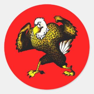 Dibujo animado que lucha Eagle Pegatina Redonda