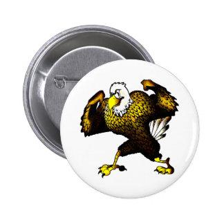 Dibujo animado que lucha Eagle Pin Redondo De 2 Pulgadas